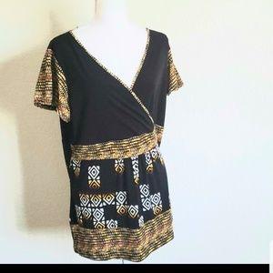 Liz & Co. Women Short Sleeve Blouse 1X
